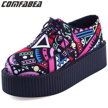 Clean Stock! Spring Creepers Shoes Woman Lace Up Flats Shoes Creepers Platform HARAJUKU Shoes Casual ladies shoes