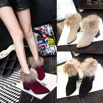 Womens Lovely Fur Ankle Bootie Heels
