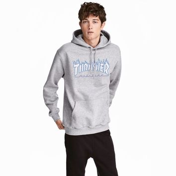 HCXX 619 Thrasher Flame logo printed letters loose Pullover Hoodie with velvet pocket cotton jacket Gray