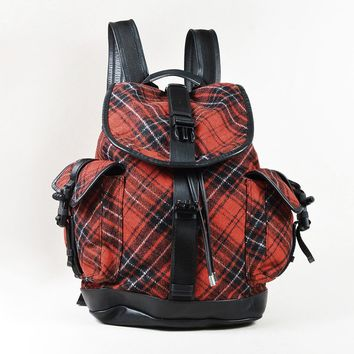 "Givenchy Red Black & White Wool & Leather Plaid ""Obsedia"" Backpack"