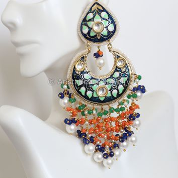 Extra Large Kundan Enamel Earrings