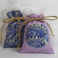 Lavender Sachets Set of 2 Dried Lavendar Scented Sachets Filled Cotton Fabric Applique Bags
