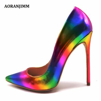 Free shipping AORANJMM real pic colorful rainbow printed pointed toe woman lady female 12cm 10.5cm 8cm  high heel shoes pump