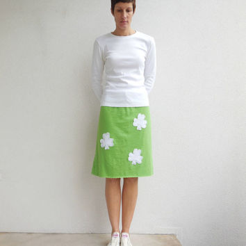 St. Patrick's Day T Shirt Skirt / Lime Green / White / Four Leaf Clover / Recycled / Upcycled / Knee Length / Cotton / Soft / Spring / ohzie