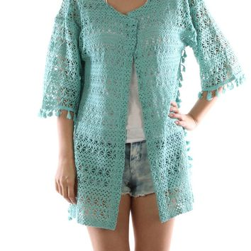 Mint Green Floral Pattern Crochet Sleeved Coverup Poncho