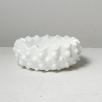 Fenton Milk Glass Jewelry Holder Hobnail Candy Dish Ashtray Collectible Glass Round Ashtray Vintage