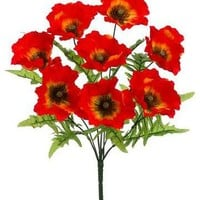"VALUE Poppy Bush in Flame Orange - 19"" Tall"