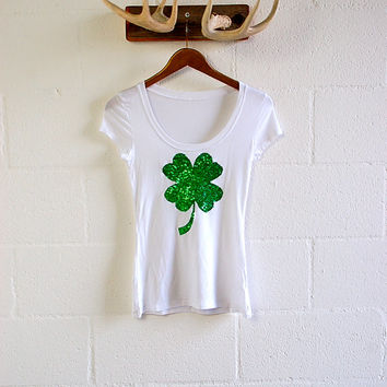 St Patricks Day Shirt Sequin Four Leaf Clover Shamrock Elbow Patch Slouchy Pullover Womens Sequin Elbow Patch Celtic FC