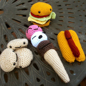 Crochet Play Food Set - Amigurumi Barbecue Stuffed Food Toys
