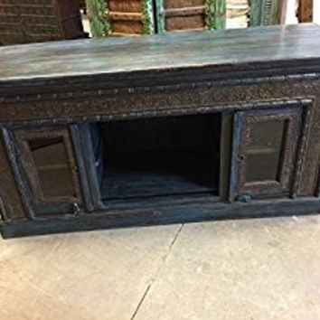 Mogulinterior Antique Cart Media Console Sideboards Chest Dark Brown Teal Patina, Brass Iron Embellished lUXE DECOR