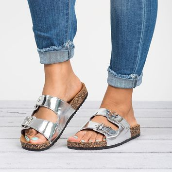 Double Buckle Sandals - Metallic Silver