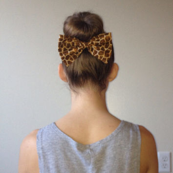 Giraffe Print Fabric Hair Bow