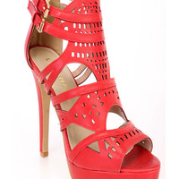 Red Perforated Strappy High Heels Faux Leather