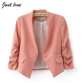 Autumn Women Blazer Europe America Feminino V-neck Puff Sleeve Candy Color Women Jacket Coat Female Blazer No Button Big Size