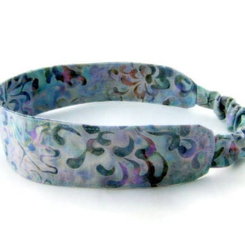 Batik Zen Flower Headband - Fabric with Covered Elastic back purple green