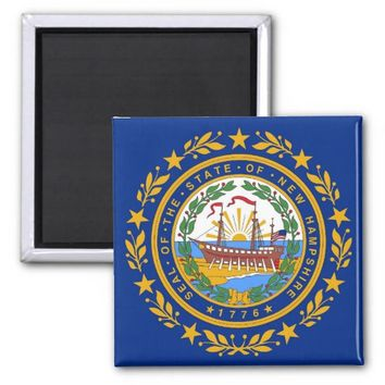 Magnet with Flag of New Hampshire State - USA
