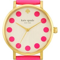 Women's kate spade new york 'metro' dot dial leather strap watch, 34mm