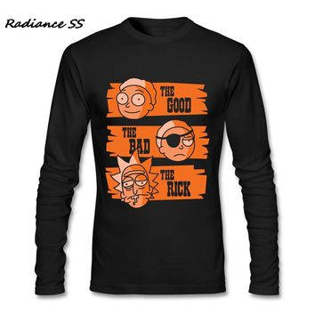 2017 Funny T Shirts Men Long Sleeve Funny Rick and Morty Printing Harajuku T-Shirt Adult Luxury Brand Clothing