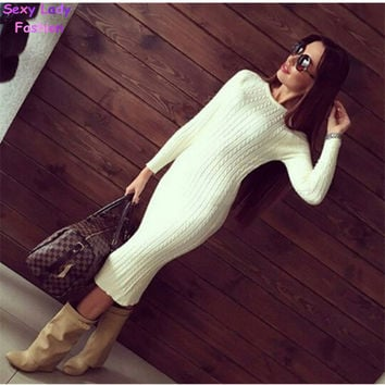 Women Twisted Back Slit Sweater Dress Solid Color Kleding jerseis knitted pull Femme Long Jumper midi pullover Sweater Dresses