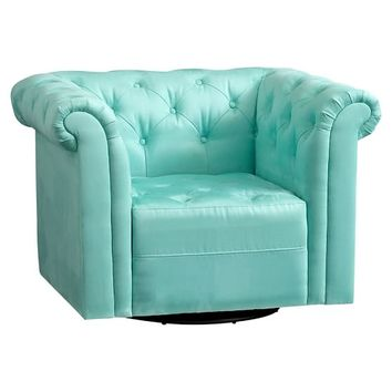 Cushy Roll Arm Swivel Chair