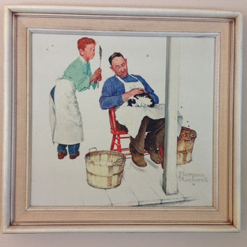 Norman Rockwell- Swatter's Rights Framed Vintage Oil Painting