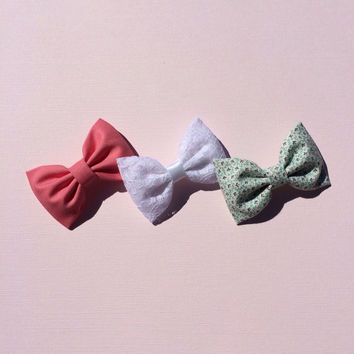 Watermelon, white lace, and tiny green and pink floral hair bows from seaside sparrow.  Perfect gift for her.