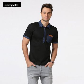 Jampelle New Men Polo Shirt Denim Personality Cowboy Pocket Leather Collar Blouse 2018 Hot Patchwork Lapel Short Sleeve Blusa