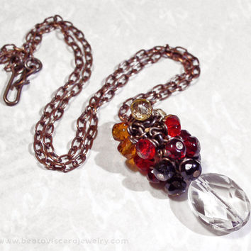Red Ombre Crystal Cluster Necklace with Rock Crystal & Czech Glass - Orange Yellow Black Simple Necklace Antique Brass Vintage Look Jewelry