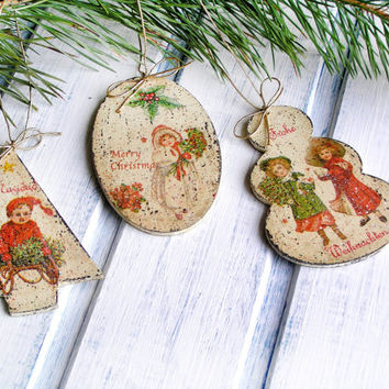 "Christmas Ornaments ""Kids"" / Vintage Christmas Decoration / Decoupage Tree Decorations / Handmade Gift /New Year Present / Christmas Toy"