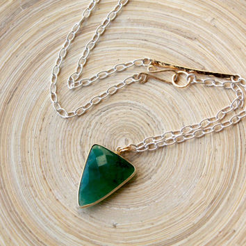 Emerald Triangle Pendant mixed metal asymmetrical necklace. Gold,Silver and Emerald, May birthstone. Jewelry trends 2015, Graduation gift
