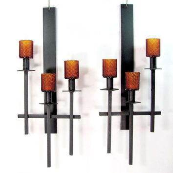 Vintage WROUGHT IRON Sconces Pair Black Triple Candle Amber Glass Arts & Crafts