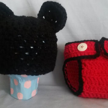 0-3 Month Mickey Mouse Inspired hat and diaper cover (set, red, black, button, baby shower, boy)