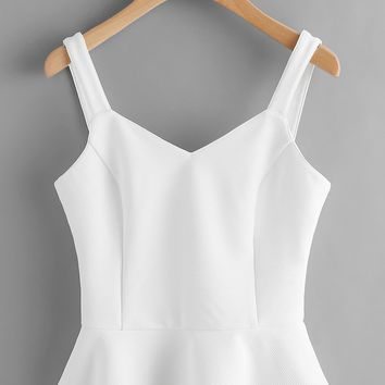 Princess Seam Lace Up Back Peplum Bustier Top WHITE