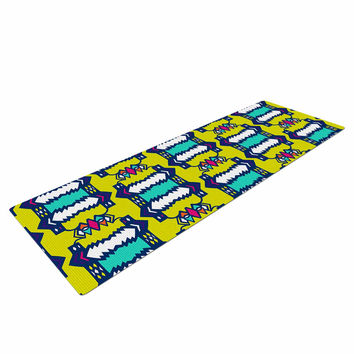 "Miranda Mol ""Party Vibes"" Yellow Teal Yoga Mat"