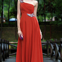Chinese red wedding dress party dress oneshoulder by topyecheng