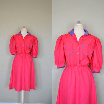 Vintage Dress / Bright Pink Waitress Dress / by WayfaringMagnolia