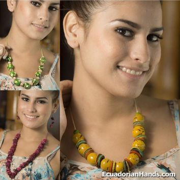 Bundle of Tagua Jewelry, Tropicolor Delight - Sets Of Necklaces And Earrings