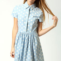 Milly Pearl Collar Spot Skater Dress