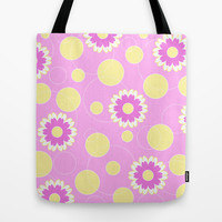 Pink floral pattern Tote Bag by cycreation