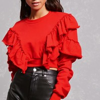 Frayed Ruffle Crop Sweatshirt
