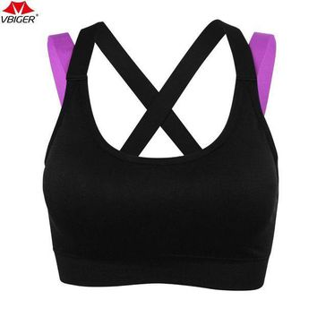 PEAPFS2 Vbiger Women Sports Bras Cross Back Running Gym Fitness Yoga Bra Wireless Sports Racerback Exercise Bra
