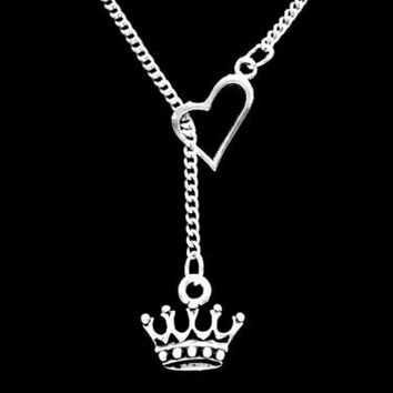 Crown Queen Valentine Gift Wife Girlfriend Daughter Heart Lariat Necklace