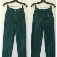 Vintage 80s-90s Guess Red Label Jeans / Forest Green / Misses Juniors Size 12 / 24 Inch Waist / Made in the USA