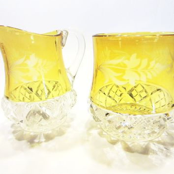 Hand Cut Crystal Yellow Painted Pitcher Bowl Set Diamond Starburst Design Floral Etching