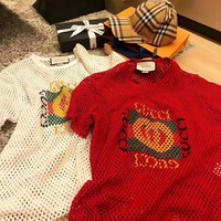 GUCCI Red Hollow Mesh Tee