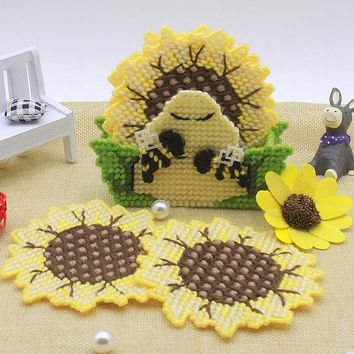 Plastic Canvas Cross Stitch kit  sunflower coasters set