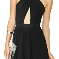 ROMWE Crossed Halter Black Dress