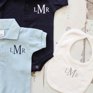 Newborn Baby Boy Coming Home Outfit. Monogrammed Polo Style Bodysuit 223093f85