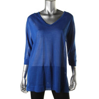 JM Collection Womens Sheer V-neck Tunic Top