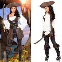 2016High quality Halloween Costume New Sexy Female Pirate Costumes Anime Costume Pirate of the Caribbean Cloth Women Fancy Dress